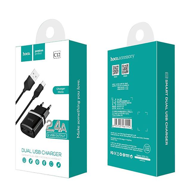 Hoco Netz-Ladegerät Dual 2x USB C12 mit Typ C Kabel 2.4A Lade Stecker Adapter Reiseladegerät