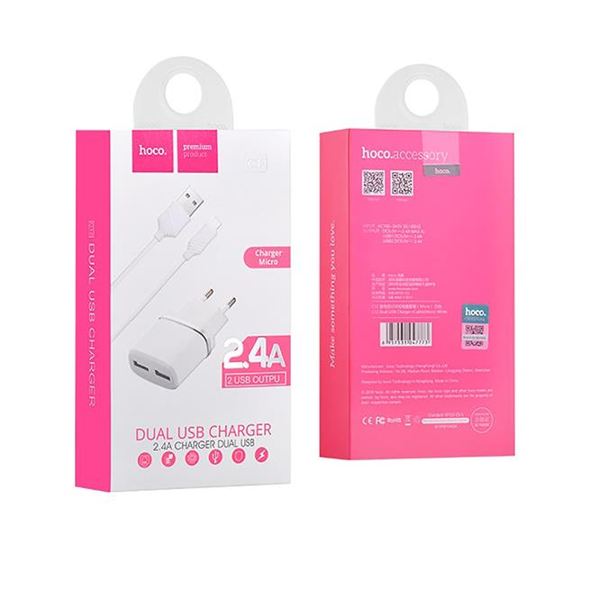Hoco Netz-Ladegerät Dual 2x USB C12 mit Micro USB Kabel 2.4A Lade Stecker Adapter Reiseladegerät