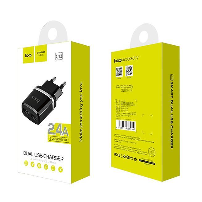 Hoco Netzstecker Ladegerät C12 Dual 2x USB 2.4A Lade Stecker Adapter Travel Reiseladegerät in Schwarz