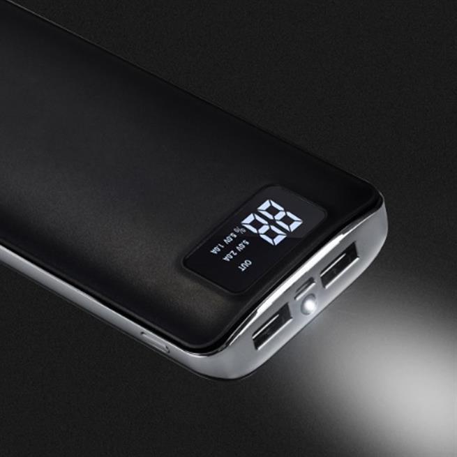 Hoco Power Bank B23A mit 15000mAh Dual USB Digital Statusanzeige externer Akku Ladegerät in Schwarz