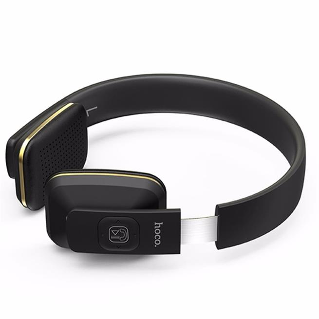 Hoco Wireless Kopfhörer W9 Bluetooth kabelloses Stereo Headset mit Mikrofone 5h Laufzeit On-Ear in Schwarz