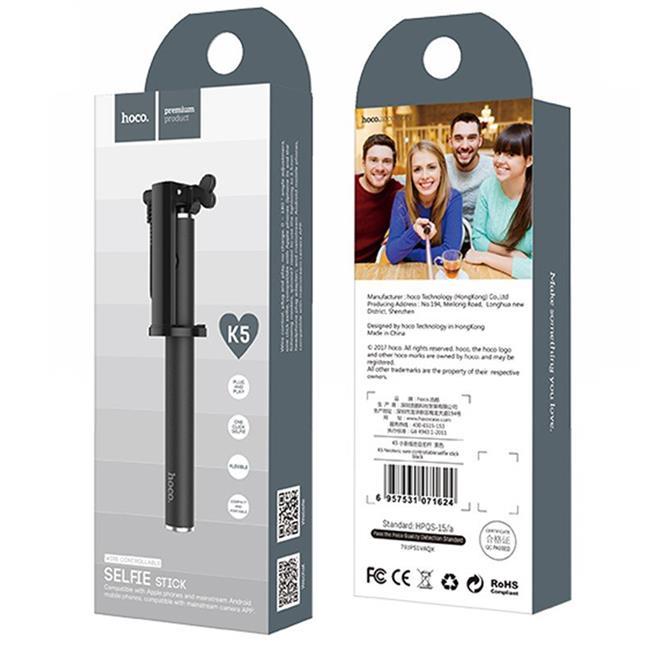 Hoco Selfie Stick K5 Metallgehäuse Stange mit Kabelsteuerung für AUX - extrem stabil in Schwarz