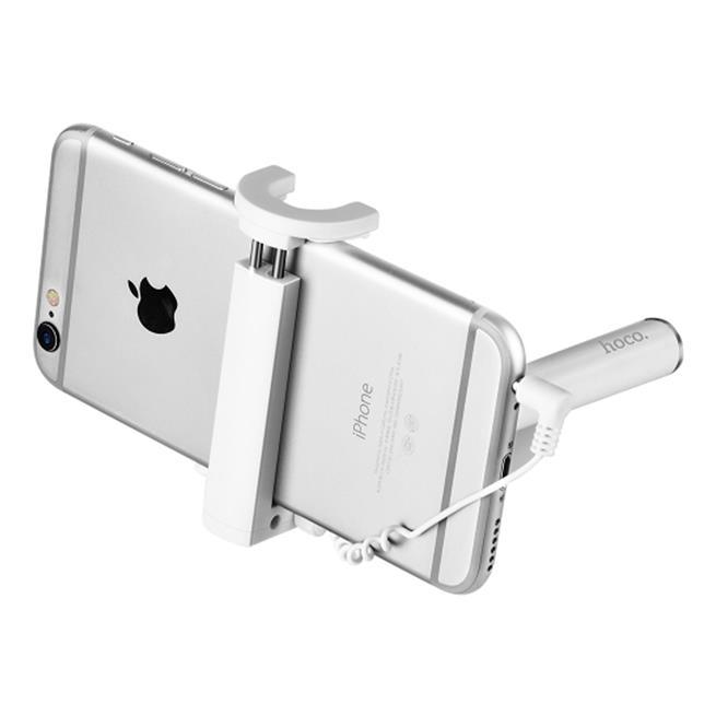 Hoco Selfie Stick K5 Metallgehäuse Stange mit Kabelsteuerung für AUX - extrem stabil in Rosa