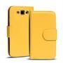 Basic Bookcase Hülle für Samsung Galaxy S3 / S3 Neo Klapphülle Tasche mit Kartenfächer in Gelb