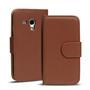 Basic Bookcase Hülle für Samsung Galaxy S3 Mini Klapphülle Tasche mit Kartenfächer in Braun