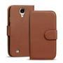 Basic Bookcase Hülle für Samsung Galaxy S4 Mini Klapphülle Tasche mit Kartenfächer in Braun