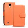 Basic Bookcase Hülle für Samsung Galaxy S4 Klapphülle Tasche mit Kartenfächer in Orange