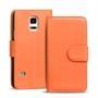 Basic Bookcase Hülle für Samsung Galaxy S5 / S5 Neo Klapphülle Tasche mit Kartenfächer in Orange