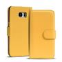 Basic Bookcase Hülle für Samsung Galaxy S6 Edge Klapphülle Tasche mit Kartenfächer in Gelb