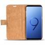 Retro Klapptasche für Samsung Galaxy S9 Book Cover Hülle Tasche mit Kartenfächer in Mocca