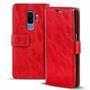 Retro Klapptasche für Samsung Galaxy S9 Plus Book Cover Hülle Tasche mit Kartenfächer in Rot