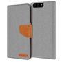 Textil Klapphülle für Huawei P10 - Hülle im Jeans Stoff Design Wallet Tasche in Grau