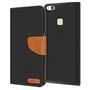 Textil Klapphülle für Huawei P10 Lite - Hülle im Jeans Stoff Design Wallet Tasche in Schwarz