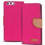 Textil Klapphülle für Huawei P10 - Hülle im Jeans Stoff Design Wallet Tasche in Pink