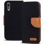 Book Wallet für Huawei P20 Pro Schutzhülle im Jeans-Look aufstellbar