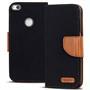 Textil Klapphülle für Huawei P8 Lite 2017 - Hülle im Jeans Stoff Design Wallet Tasche in Schwarz