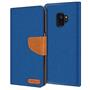 Book Wallet für Samsung Galaxy S9 Schutzhülle Tasche im Jeans-Look